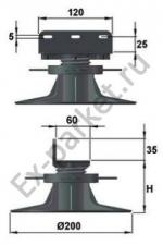 Регулируемые опоры Forest Style для укладки террас на лагах — B50, B70 и B100